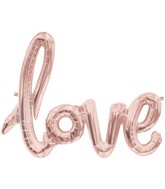 """30"""" Wide Airfill Only LOVE Script Rose Gold Foil Balloon"""