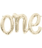 """30"""" Long Airfill Only ONE Script White Gold Foil Balloon"""