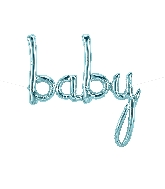 """34"""" Airfill Only Baby Script - Pastel Blue Script Word"""