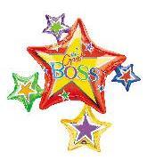 "35"" Boss's Day Star Cluster Mylar Balloon"