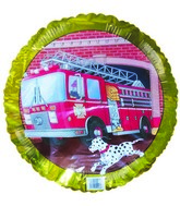 """18"""" Fire Truck Number 9 Birthday Gold Border"""