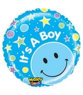 "21"" It's a Boy! Stars Blue Smiley Balloon"