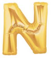 """7"""" Airfill (requires heat sealing) Megaloon Jr. Letter Balloons N Gold"""