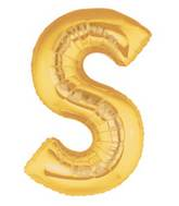 """7"""" Airfill (requires heat sealing) Megaloon Jr. Letter Balloons S Gold"""