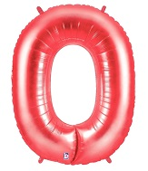 "40"" Large Number Balloon 0 Red"