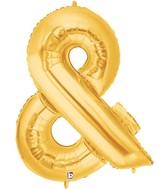 "40"" Foil Shape Balloon Gold Ampersand Megaloons"