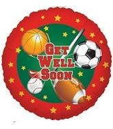 "9"" Airfill Only Get Well Soon Sports Balloon"