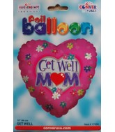 "18"" Get Well Mom Floral Pink Heart Shaped Balloon"