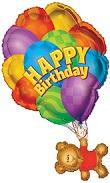 34'' Happy Birthday Bear With Balloons
