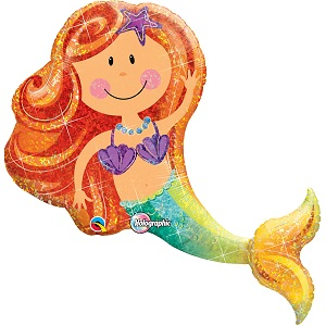 Mermaid Mylar Balloon \u00a0Mermaid Birthday Party 41/'/' IRIDESCENT MERMAID Balloon \u00a030/'/' Colorful Mermaid Balloon Mermaid Foil Balloon