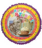 "18"" Happy Birthday Cat Balloon"