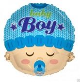 """18"""" Baby Boy Head Shape Mylar Balloon"""