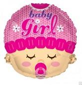 "18"" Baby Girl Head Shape Mylar Balloon"