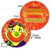 """9"""" Airfill Only Lil' Fuzzies Birthday Clown balloon"""
