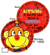 """9"""" Airfill Only Lil' Fuzzies Birthday Monkey balloon"""