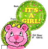 """9"""" Airfill Only Lil' Fuzzies Girl Bear Balloon"""