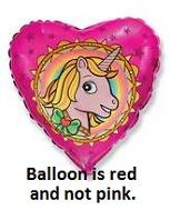 "18"" Unicorn Head Red Mylar Balloon"