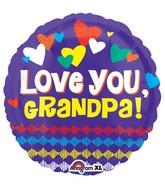 """18"""" Love You Grandpa Hearts Balloon"""