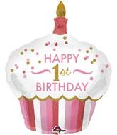 "36"" 1st Birthday Cupcake Girl Balloon"
