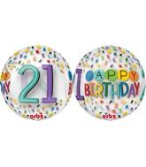 """16"""" Happy 21st Birthday Rainbow Balloon"""