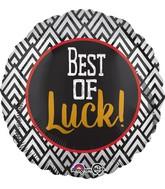 """18"""" Best of Luck Black & White Balloon"""