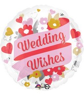 "18"" Wedding Wishes Floral Balloon"