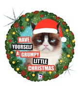 "18"" Holographic Licensed Balloon Grumpy Cat® Christmas"