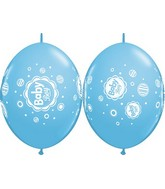 """12"""" Quicklink Pale Blue 50 Count Baby Boy Dots"""