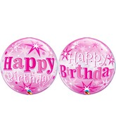 "22"" Single Bubble Packaged Birthday Pink Starburst Sparkle"