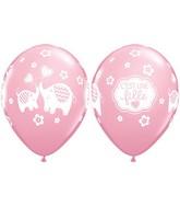 """11"""" Pink 50 Count C'Est Une Fille Elephants"""