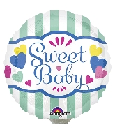 """4"""" Airfill Only Sweet Baby Stripes & Hearts Balloon"""
