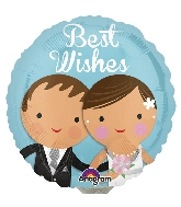 "9"" Airfill Only Best Wishes Wedding Couple Balloon"