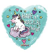 "18"" Have A Magical Birthday Unicorn Heart Foil Balloon"