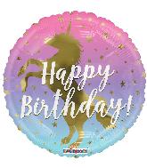 """18"""" Birthday Unicorn Silhouette Round Foil Balloon"""
