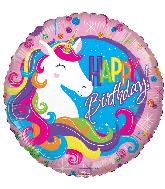 "18"" Birthday Classic Unicorn Round Foil Balloon"