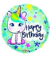"18"" Birthday Cute Unicorn Gellibean Round Foil Balloon"