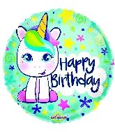 "18"" Birthday Cute Unicorn Gellibean Round Foil Balloon"