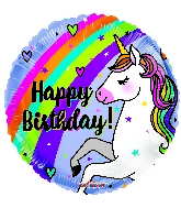 """18"""" Birthday Unicorn & Rainbow Round Foil Balloon"""