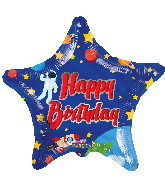 "9"" Happy Birthday Space Star Foil Balloon"