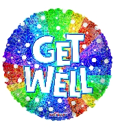 "9"" Get Well Rainbow Holographic Round Foil Balloon"