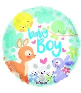 """9"""" Baby Boy Animals Round Foil Balloon"""