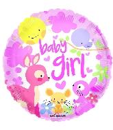"""9"""" Baby Girl Animals Round Foil Balloon"""