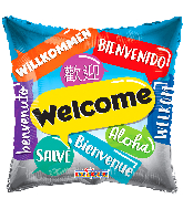 "18"" Welcome Languages Square Foil Balloon"
