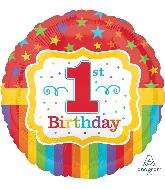 """18"""" Rainbow 1st Birthday Balloon"""