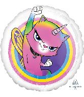 """18"""" Rainbow Butterfly Unicorn Kitty Foil Balloon"""