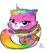 """22"""" Rainbow Butterfly Unicorn Kitty SuperShape Foil Balloon"""