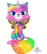 """44"""" Rainbow Butterfly Unicorn Kitty AirWalkers Foil Balloon"""