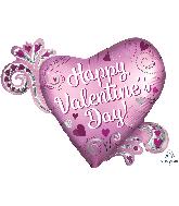 "32"" Satin Happy Valentine's Day Heart Foil Balloon"