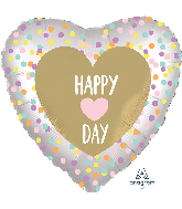 """18"""" Satin Infused Heart Day Foil Balloon"""