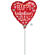 "4"" Airfill Only Happy Valentine's Day Foil Balloon"